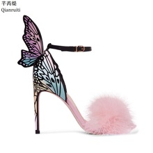 Qianruiti Pink Feather Stiletto Heels Women Pumps Butterfly Wings Bridal  Wedding Shoes Ankle Buckle Strap High Heels Sandals a1e704586da1
