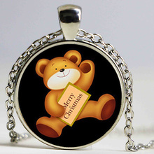 New Arrival teddy bear necklace Merry christmas gift Zinc alloy holder handbag charm accessory Free shipping