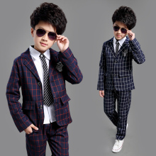 ActhInK New School Kids Plaid Suit England Style Boys Formal Wedding Blazer Suit Boys Birthday Suit Brand New Year Tuxedos, C008(China)