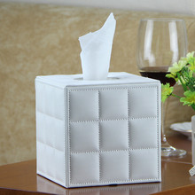 Quality PU leather square household tissue box hotel table napkin holder modern fashion(China)