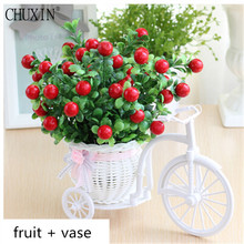 1set ( Fruit + vase ) Rattan bicycle with artificial fruit tree table decoration wood fence Green plant flower set(China)