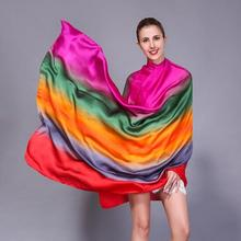 [SLKSCF] 200X110CM 8 Different Colors Rainbow Color silk satin scarf silk scarves women new design long silk hijabs wraps