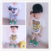 2017 baby boys girls 100% cotton summer fashion T-shirts cute bear design family kids lovely casual T shirts 1Y-L size soft