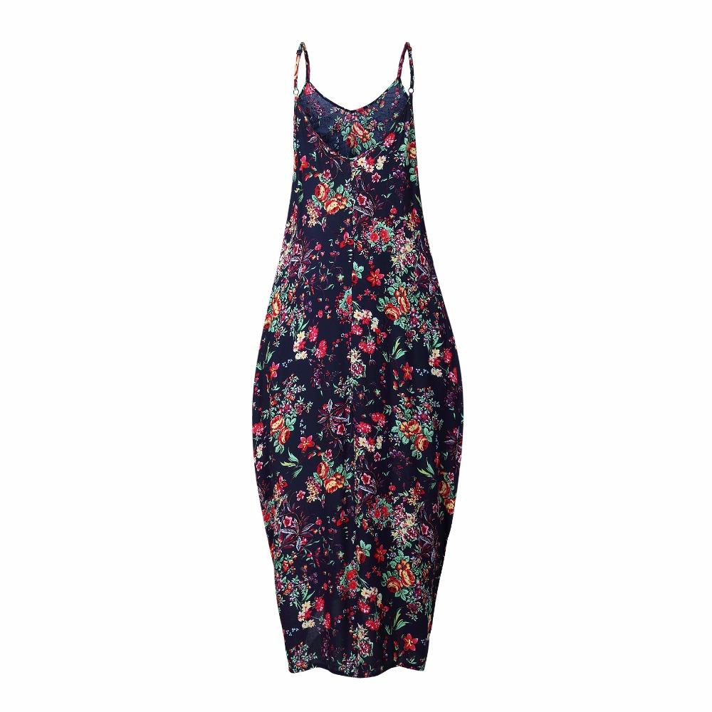 Print Floral Loose Boho Bohemian Beach Dress Women Sexy Strap V-Neck Retro Vintage Long Maxi Dress Summer 2017 Plus Size 3XL 18