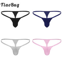 Buy TiaoBug Men Lingerie Small Penis Bulge Pouch G-string Tanga Hombre Jockstrap Male Thong Sexy Gay Underwear Hot Sissy Panties