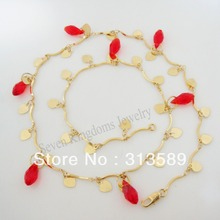 "Free Shipping/Min order 10$/ TOP QUALITY 19.7"" - YELLOW GOLD OVERLAY LINK CHAIN CRYSTAL BEADS NECKLACE/Great Gift Money Maker(China)"