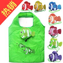 5pcs/ lot New Multi Colors Tropical Cute Fish Foldable Eco Reusable Shopping Bags Handle Bags 38cm x60cm