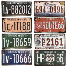 Plaque Metal Vintage Garage Pub metalliques Sign Route 66 United States Car License Plate Tin Bar Decorative Sign Painting(China)