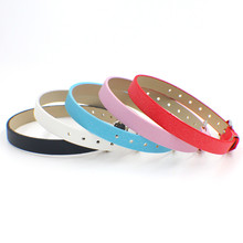 10pcs 210mm*8mm Scrub PU Leather Wristband can put any 8mm letters charms on(China)