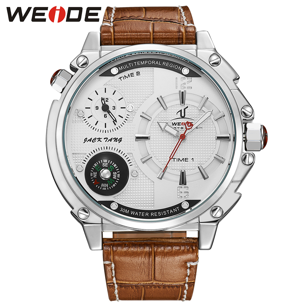 WEIDE Fashion Mens Sport Watch Luminous Quartz Movement Multiple Time Zone White Dial Brown Leather strap Buckle Watch For Men<br>