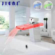 5 Years Warranty Brass Chrome Water Faucet Led Bathroom Kitchen Faucet Waterfall Faucet Led Faucet torneira Mixer(China)