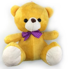 22CM Cute Yellow Teddy Bear Plush Toy Soft Bear Dolls With Purple Bow Tie Children Favorite Special Offer Free Shipping NT073B