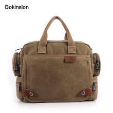 Bokinslon Luxury Men's Canvas Bag Casual Practical Men's Travel Bag Large Capacity High Quality Name Brand Handbags Male