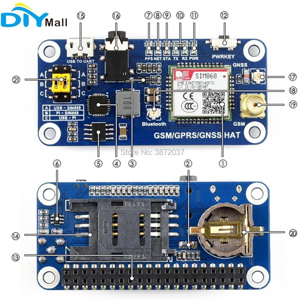 WS0005-SIM868 Raspberry Pi GSM GPRS GNSS-5