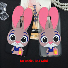 Luxury Phone Girl Case Capa Coque MeiZu M3 Mini M3S Cute Rabbit Soft Silicon Cases Lovely Cartoon Back Cover Fundas Pink