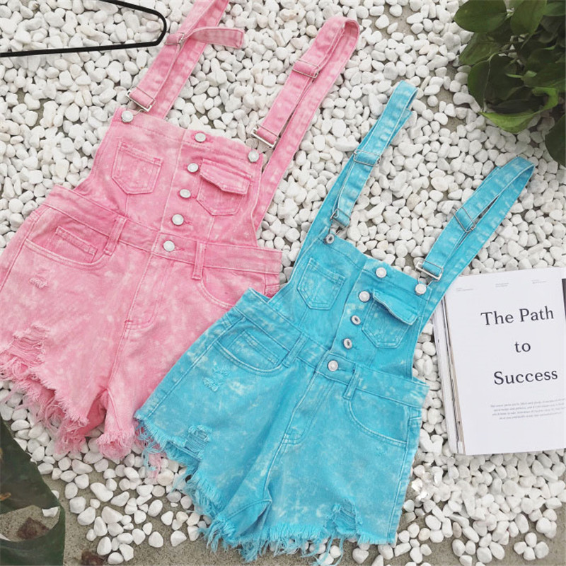 The new college wind denim strap shorts female summer hole loose Korean students was thin sling tide (3)