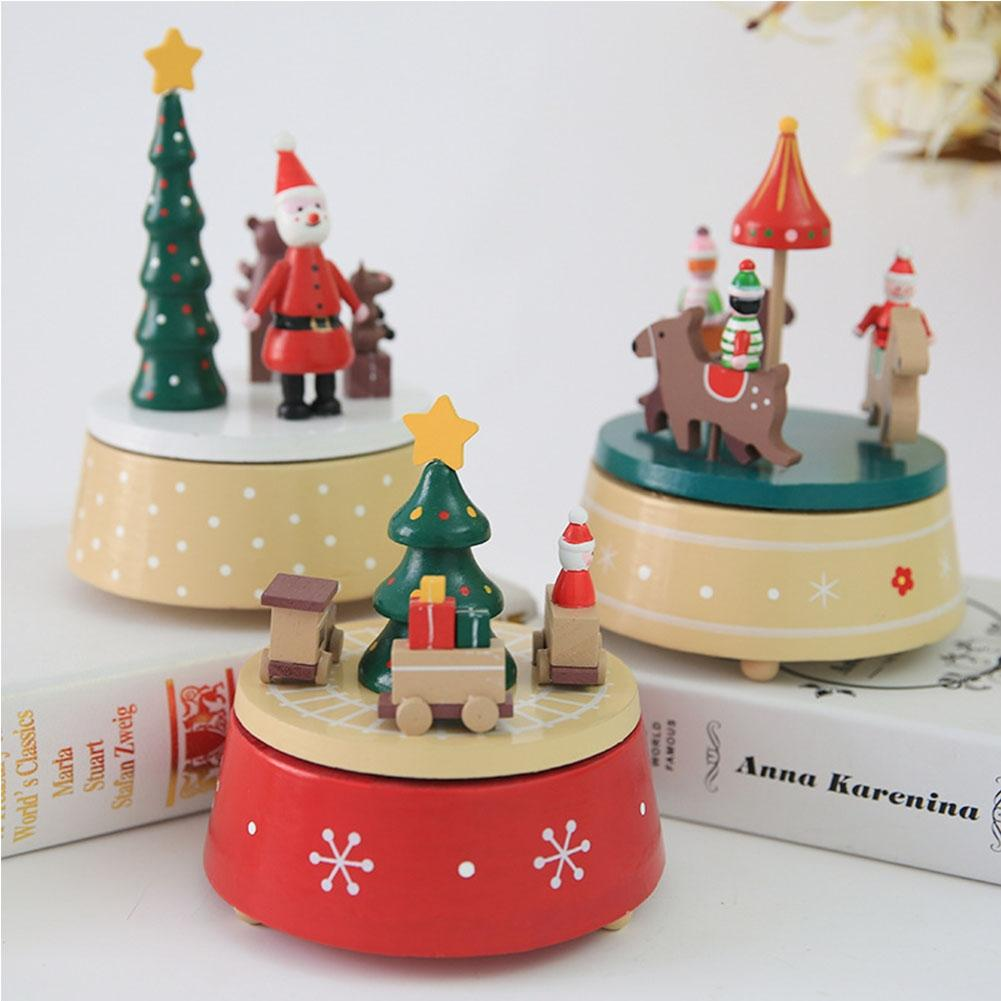 LanLan Wooden Christmas Rotating Musical Box Ornament Festival Birthday Gift