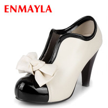 ENMAYLA New Fashion Style Bow Ankle Boots Women Round Toe High Heels Ladies Shoes Women's Boots Size 34-43 Designer Boots