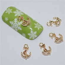 10psc New Rose gold Anchors 3D Nail Art Decorations,Alloy Nail Charms,Nails Rhinestones Nail Supplies #405(China)