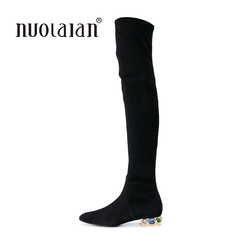 Women Over The Knee Boots Suede Thigh High Boots 2017 Autumn Winter Ladies Fashion Fur Warm Chunky Heel Boots Snow Shoes Woman<br>