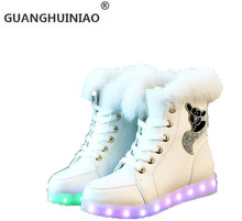 Fashion Snow boots zapatos mujer 2015 Fluorescence USB led Charging Interface Snow boots femininas Ankle boots winter shoes