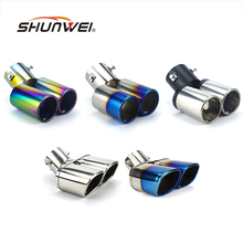Car Auto Round Exhaust Muffler Tip Stainless Steel Exhause 1 to 2 Dual Pipe Chrome Trim Modified Car Rear Tail Throat Liner(China)