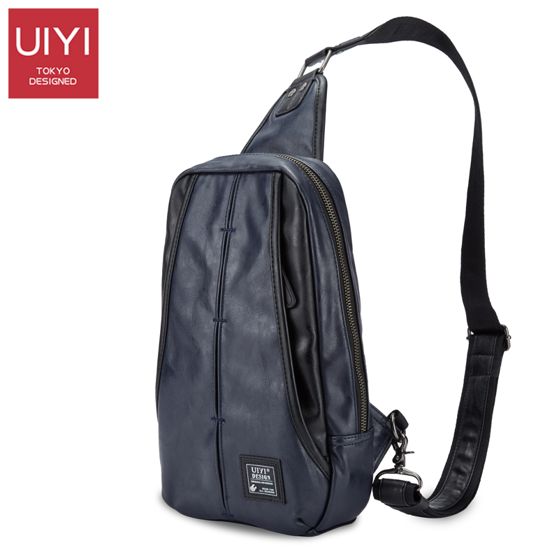 UIYI Dark blue men Chest bag PVC Male Shoulder bag Casual Messenger package mens Crossbody Bags support Drop Shipping #UYX7015<br>