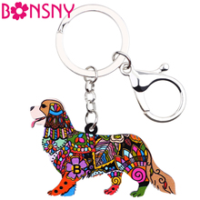 Bonsny Acrylic Cavalier King Charles Spaniel Dog Key Chain Key Ring Handbag Bag Charm Keychain Accessories New Jewelry For Women(China)