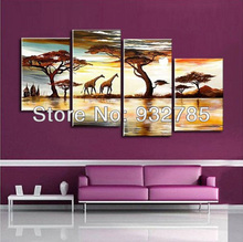 Free shipping! African abstract landscape! 100% handmade canvas oil painting, decorative painting home office restaurant(China)