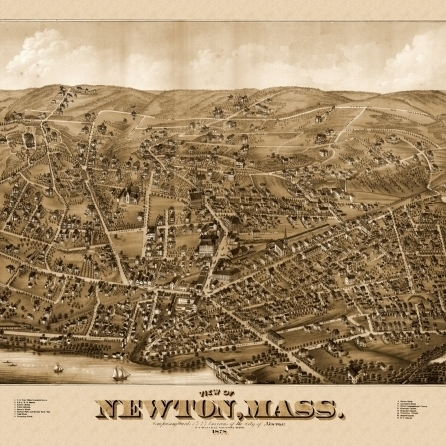 Old Map of Newton Massachusetts 1878 Middlesex County Poster Print (36 x 54)