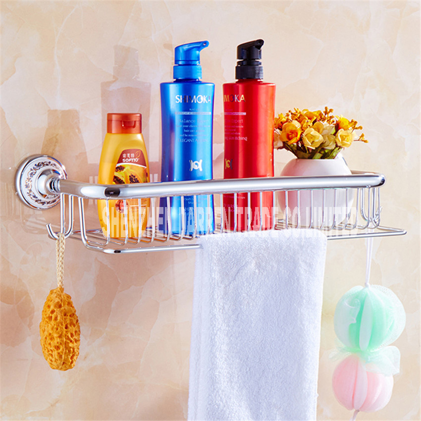 Full Copper Antique Brass Blue &amp; White Porcelain Bathroom Single-Tier Bathroom Storage Rack Wall Mount Bathroom Shelf Hot Sale<br>