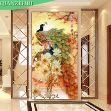 QIANZEHUI,Needlework,DIY blooming flower peacock Cross stitch ,The vertical version of magnolia silk series ,Wall Home Decro
