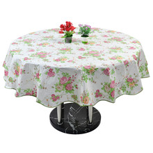 Home Picnic Round Flower Pattern Water Resistant Oil-Proof Tablecloth Table Cloth Cover 60 Inch
