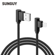 SUNGUY 8 Pin 90 Degree USB Cable for iPhone 7 Plus 6 Plus 5S Nylon Braided USB Cable Right Angle Fast Charging Data Cable