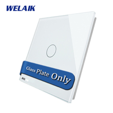 WELAIK  Touch Switch DIY Parts  Glass Panel Only of Wall Light Switch Black White Crystal Glass Panel 2Gang  A192W/B1