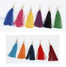9 Colors Fiber Tassel Long Drop Earrings for Bridal Women Gold Colour Fringe Earring Brush Bohemia Fashion Wedding Party Jewelry