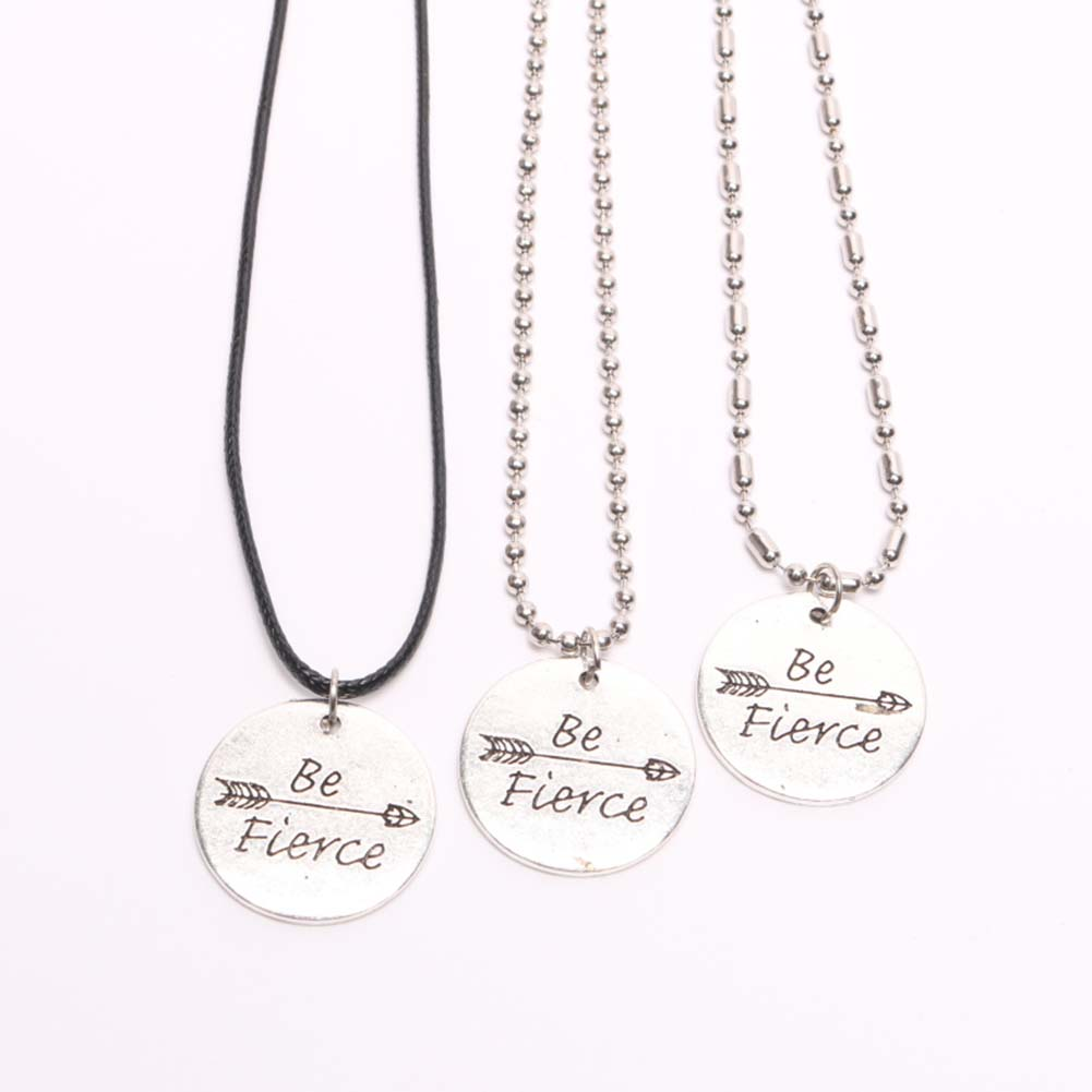 Be Fierce Engraved Round Pendant Necklace