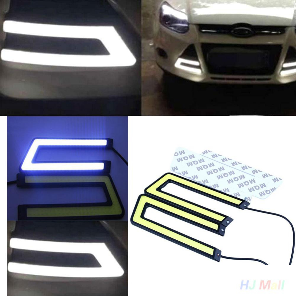2Pcs Auto Car Bright Ice Blue COB LED Daytime Running DRL Headlight Fog Light Waterproof U Shape<br><br>Aliexpress