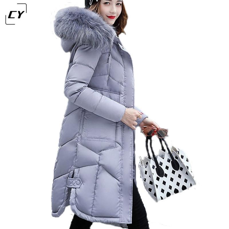 2017 100% Polyester Fiber Soft Fabric Womens Winter Cotton Hooded Large Fur Collar Female Warm Thicken Outwear Parka CQ017Îäåæäà è àêñåññóàðû<br><br>