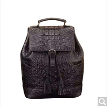 luolaini Alligator leather double shoulder bag male and female general purpose handmade gift black women men backpack(China)