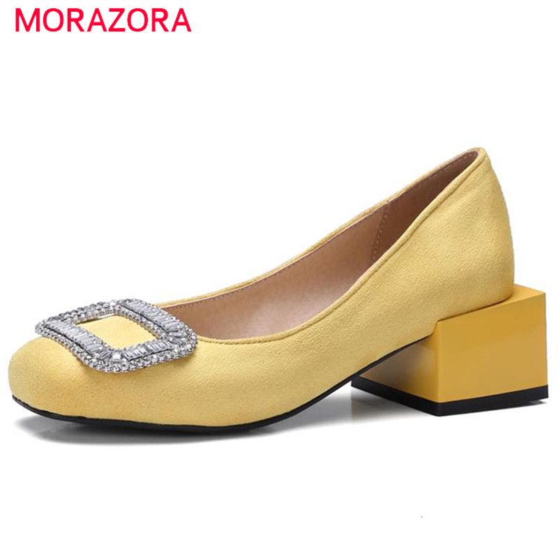 MORAZORA 2017 New Personality women pumps square toe single shoes shallow rhinestone high heels party fashion ladies shoes woman<br>
