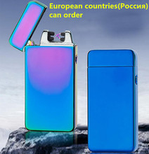 Smoking Lighters USB charging Double arc lighters Flameless Torch Rechargeable Windproof Metal electronic ice Lighter