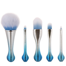 5Pcs Unique Handle Make Up Brushes Amazing Hair Mermaid Pincel Cosmetics Contour Eyeshadow Concealer Foundation Brush Cleaner