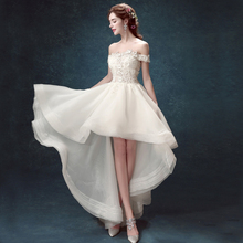 2017 new high-end custom bride wedding dress, the French lace word bride before the short long tail wedding dress DIY decoration