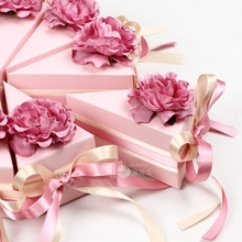 15Style 50PSC Pink Wedding Candy Boxes Triangle Cake Box Decoration Artificial Flowers Baby Shower Diy Wedding Favors and Gifts