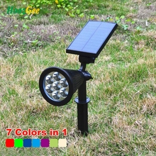 HoozGee 7 LED Spotlight Outdoor Solar Panel Power Adjustable Flood Lights Garden Yard Lawn Wall Lamp Waterproof 7 Colour in 1(China)
