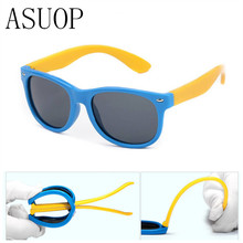 ASUOP TR90 male and female children polarized sunglasses silicone anti-drop flexible glasses polarized baby safety sunglasses(China)
