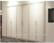 Guangzhou Factory bedroom furniture wardrobe White PU Leather Wardrobe Manufacturer YG11227