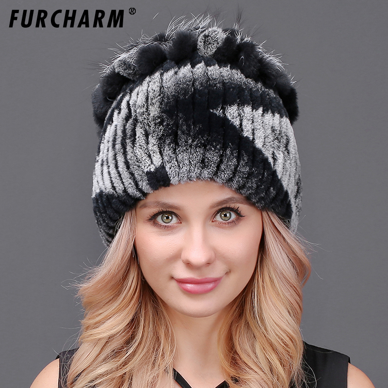 FURCHARM Women Winter Fur Hat Warm Rex Rabbit Fur Hats With Fox Fur Flower Top Women Quality Casual  fashion warm  Beanies CapÎäåæäà è àêñåññóàðû<br><br>
