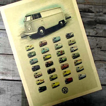 Vintage Classic Volkswagen Car VW Type Mini Bus Poster Bar Cafe Home Decor Retro Kraft Paper 42x30cm Wall Sticker(China)